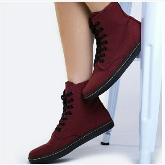 dbad47a287c7 Dr. Martens Shoes - Dr. Martens Shoreditch Cherry Red Canvas Boots